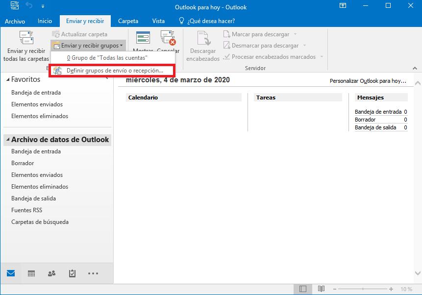 límite conexiones imap en Outlook