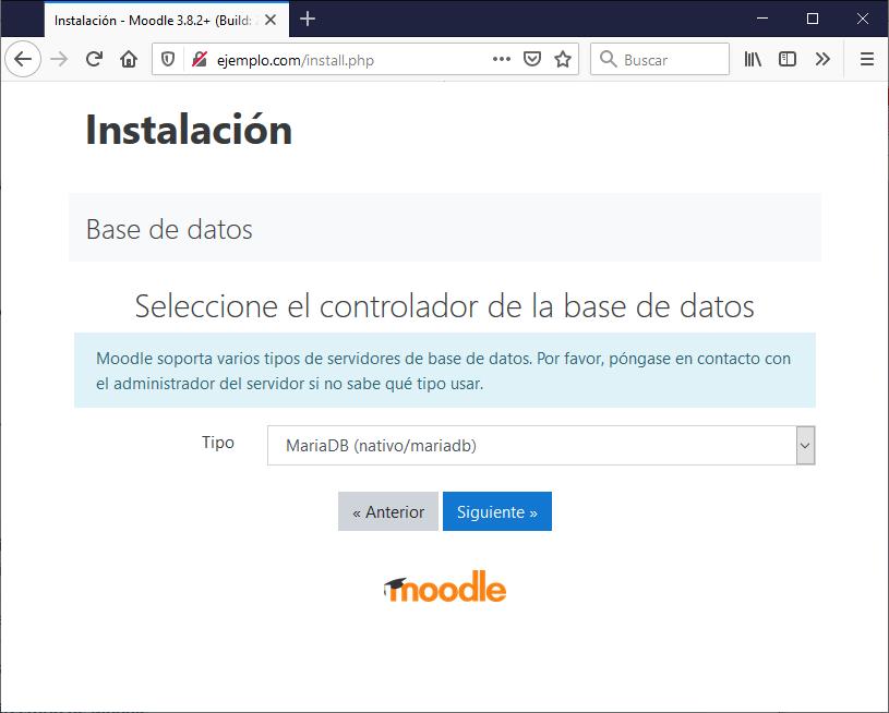 Configurar motor base de datos instalación Moodle