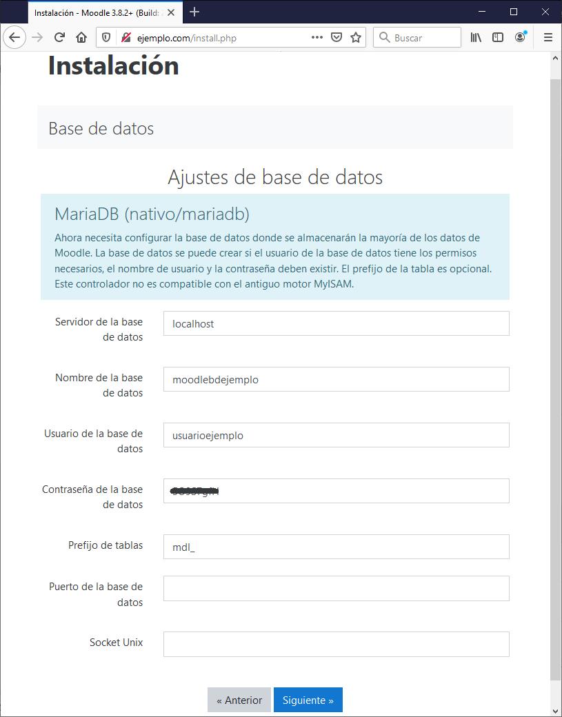 Configurar conexión base de datos instalación Moodle