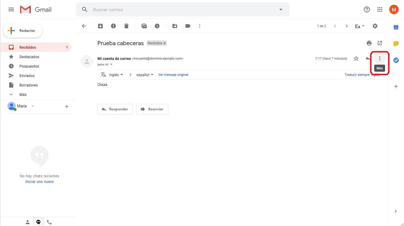 Ver cabeceras de correo en Gmail