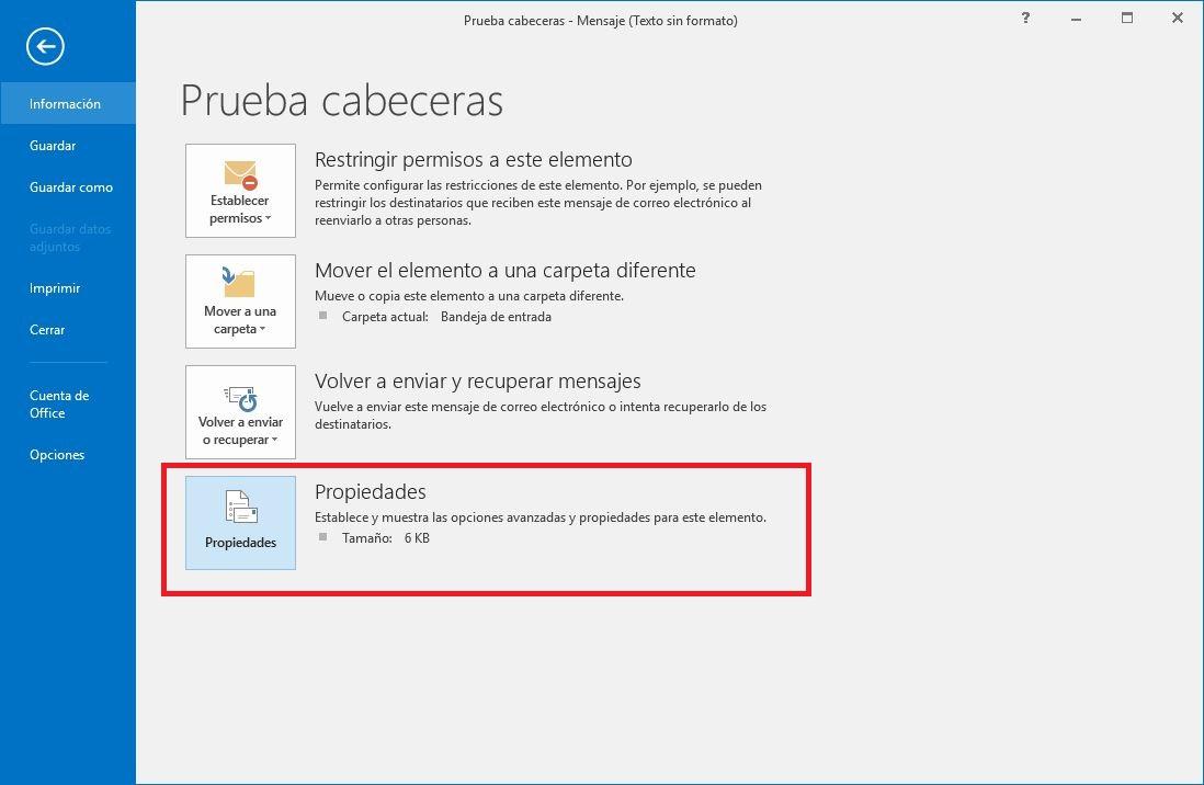 Ver cabeceras de correo en Outlook