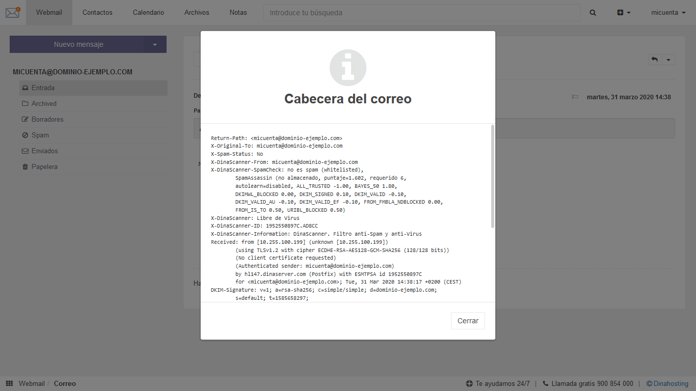Ver cabeceras de correo en webmail dinahosting