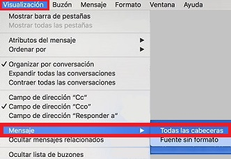 visualizar cabeceras en Mail de Mac