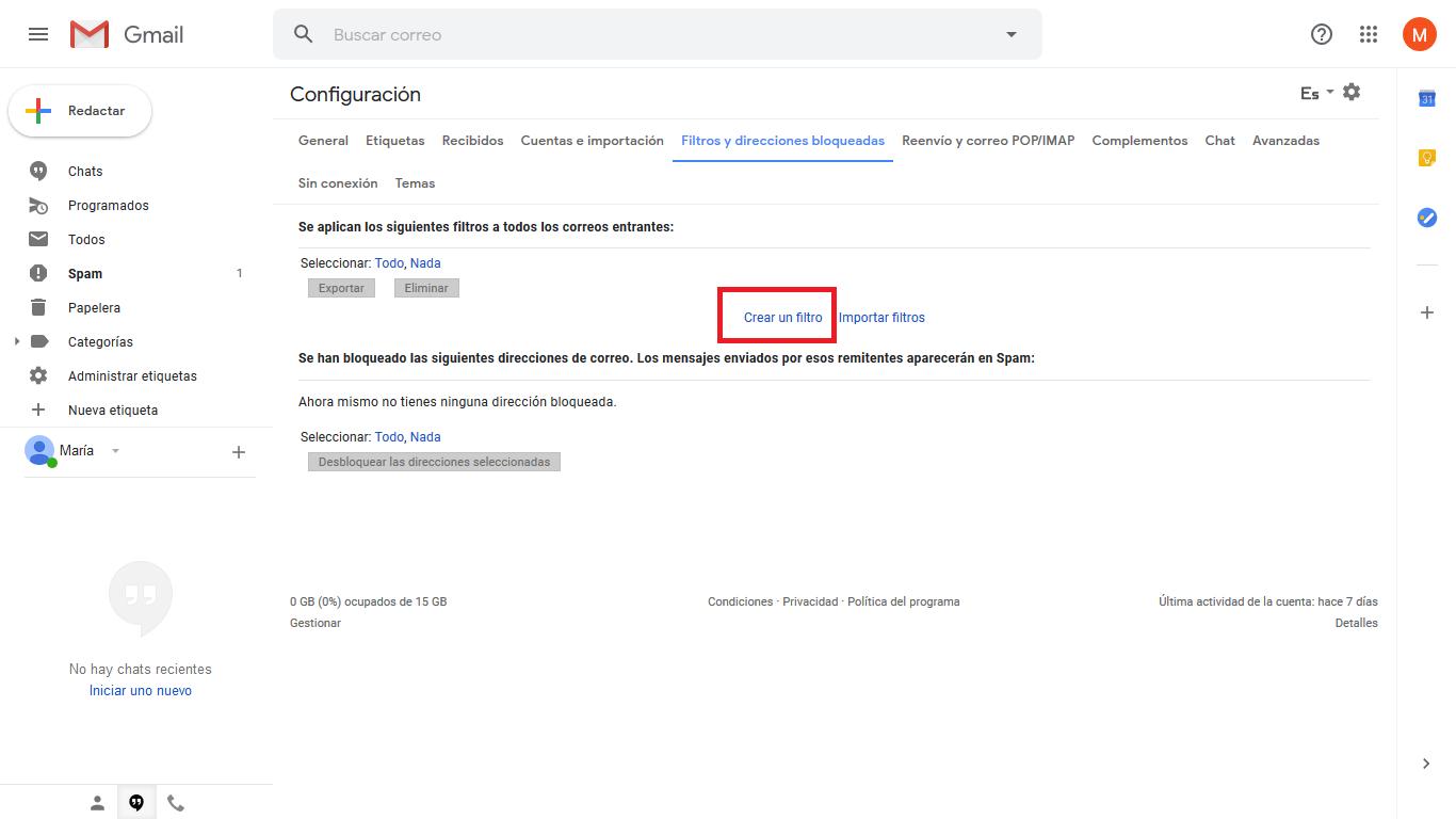 Crear un filtro Gmail