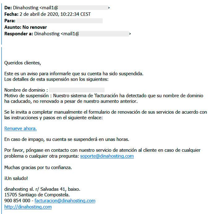 Ejemplo Phishing dinahosting