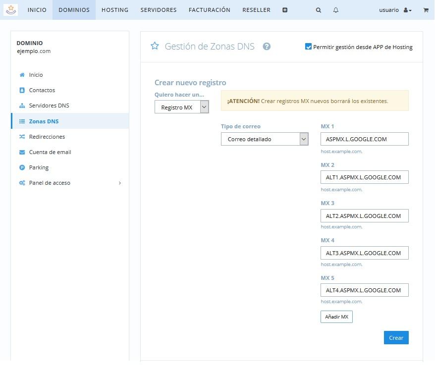 Configurar los registros MX de G Suite en dinahosting