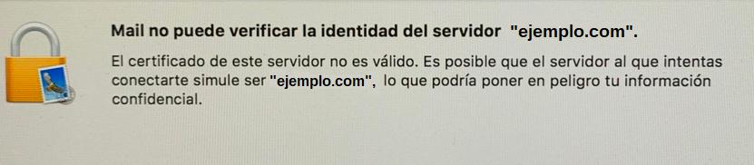 No se puede verificar la identidad del servidor