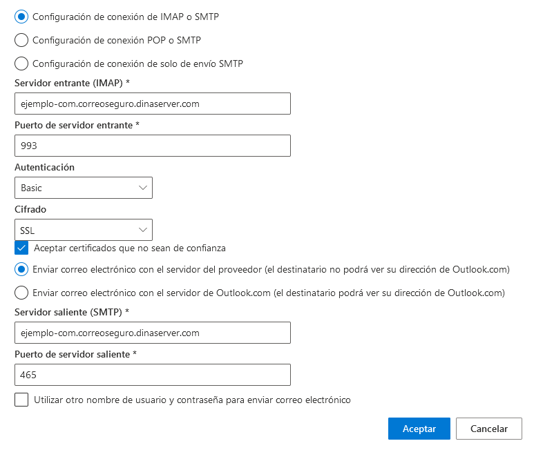 Configurar correo SSL