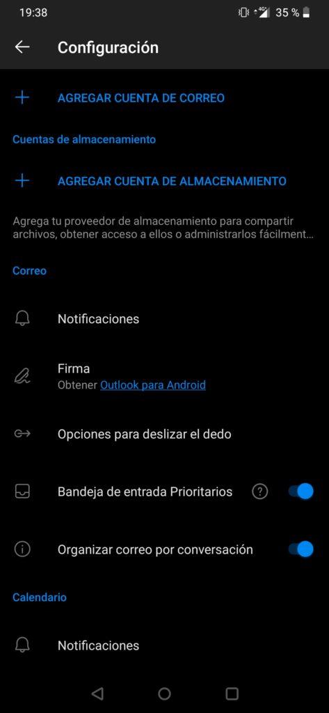 Agregar cuenta en Outlook para Android