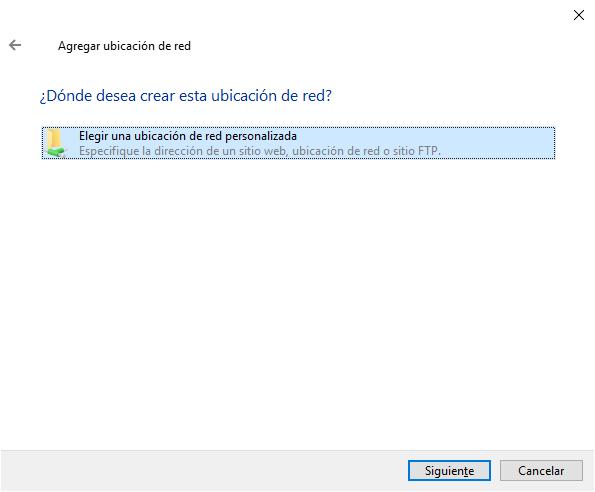 Configurando ubicación de red