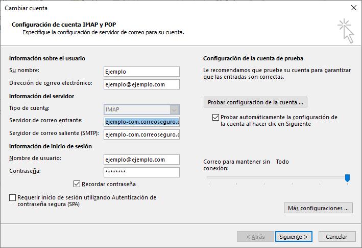 Editar configuración de correo en Outlook