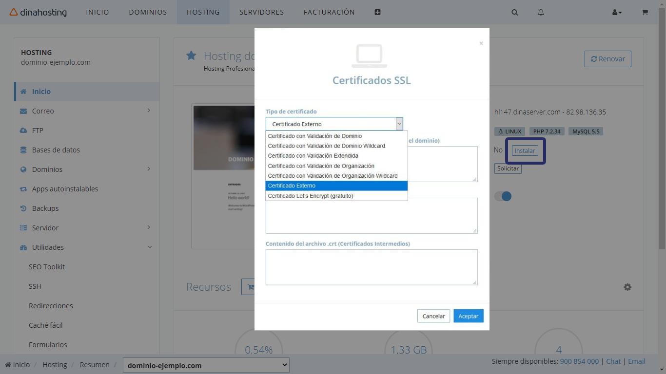 Instalar certificado en dinahosting