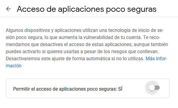 Habilitar acceso de aplicaciones poco seguras gmail