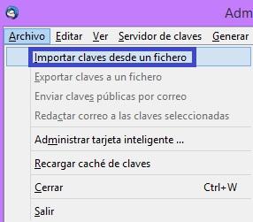 Importar claves desde un fichero
