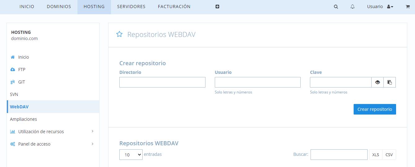 WebDAV desde el Panel de Control