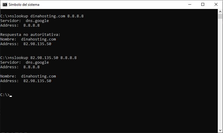 nslookup con DNS