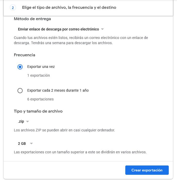 Exportar correos en Gmail