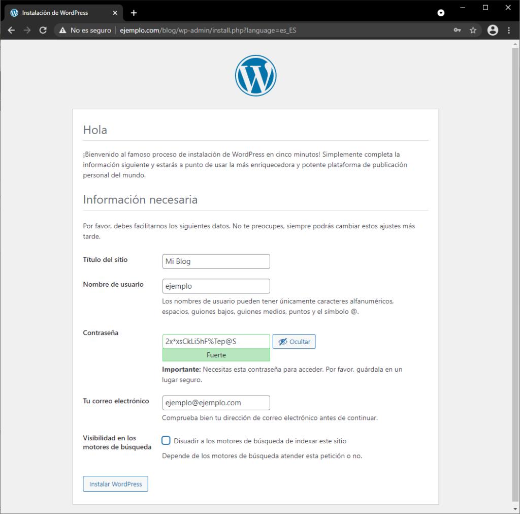 Instalar WordPress paso 4