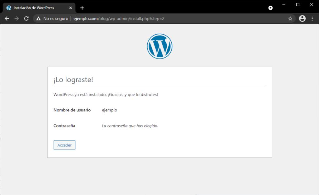 Instalar WordPress paso final