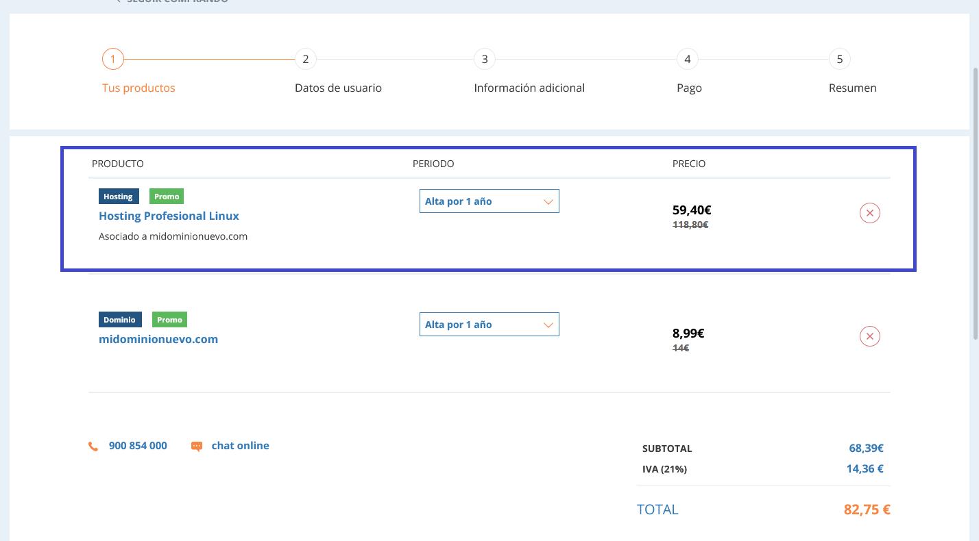 Compra de hosting en dinahosting