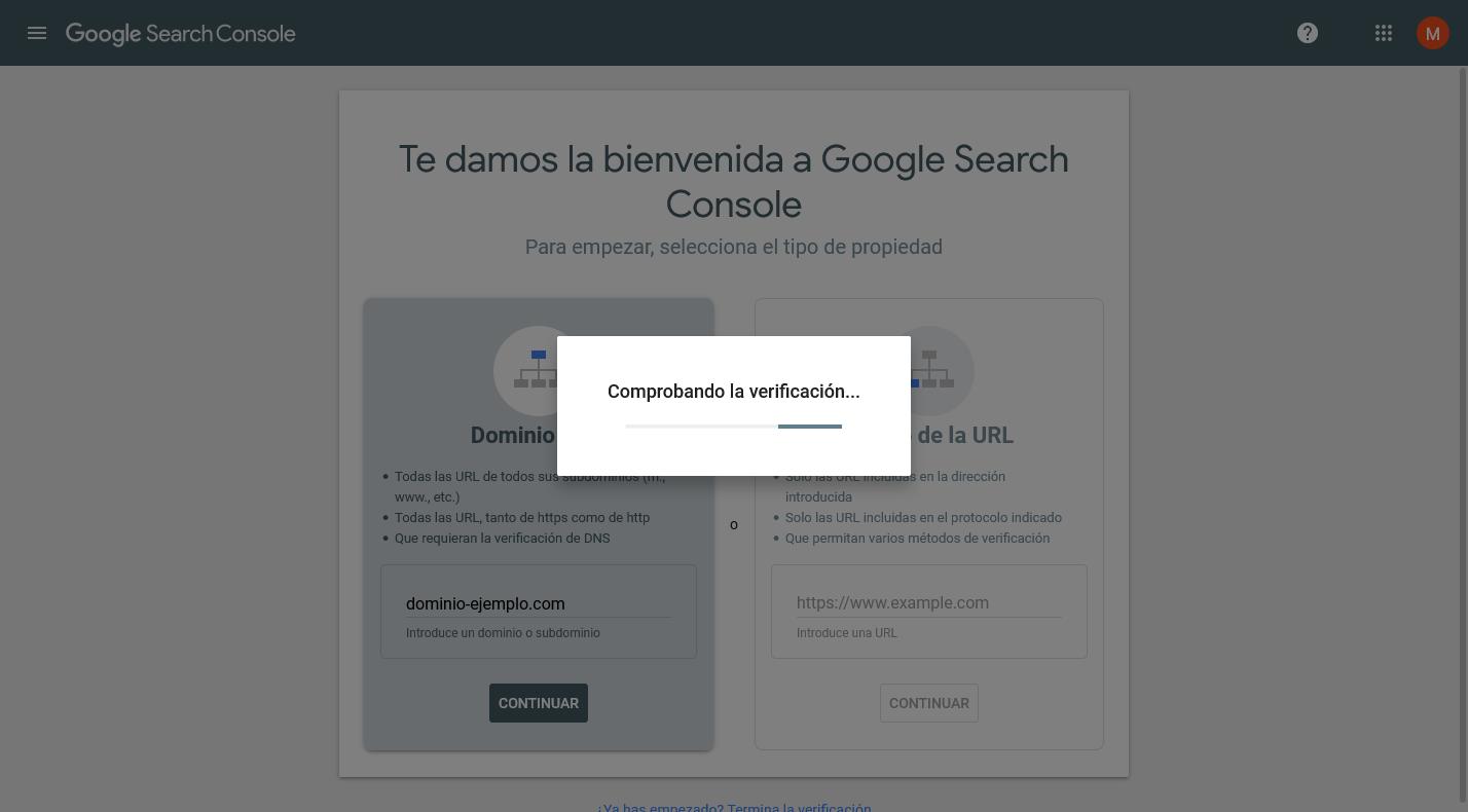 Comprobando la verificación de dominio en Google Search Console