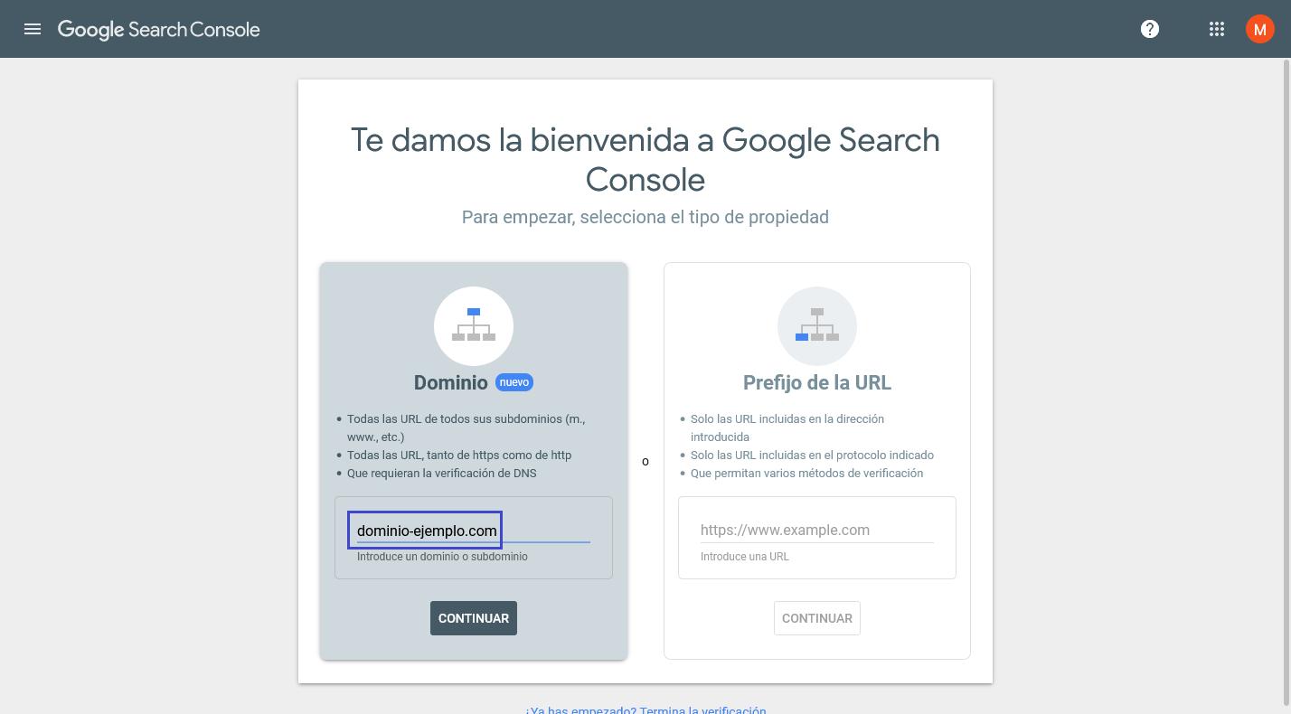 Acceso a Google Search Console