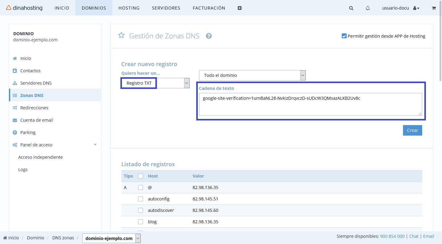 Crear registro TXT en panel de dinahosting