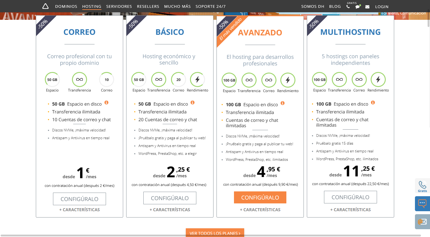 Planes de hosting compartido dinahosting