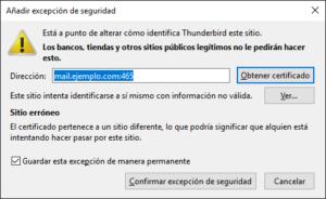 Advertencia de certificado Thunderbird