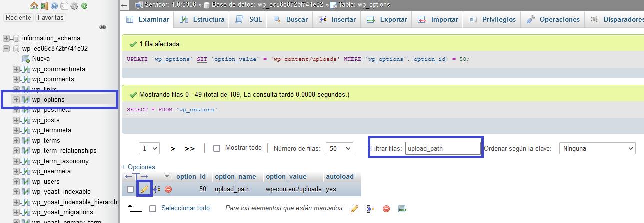 Ruta WordPress phpMyAdmin