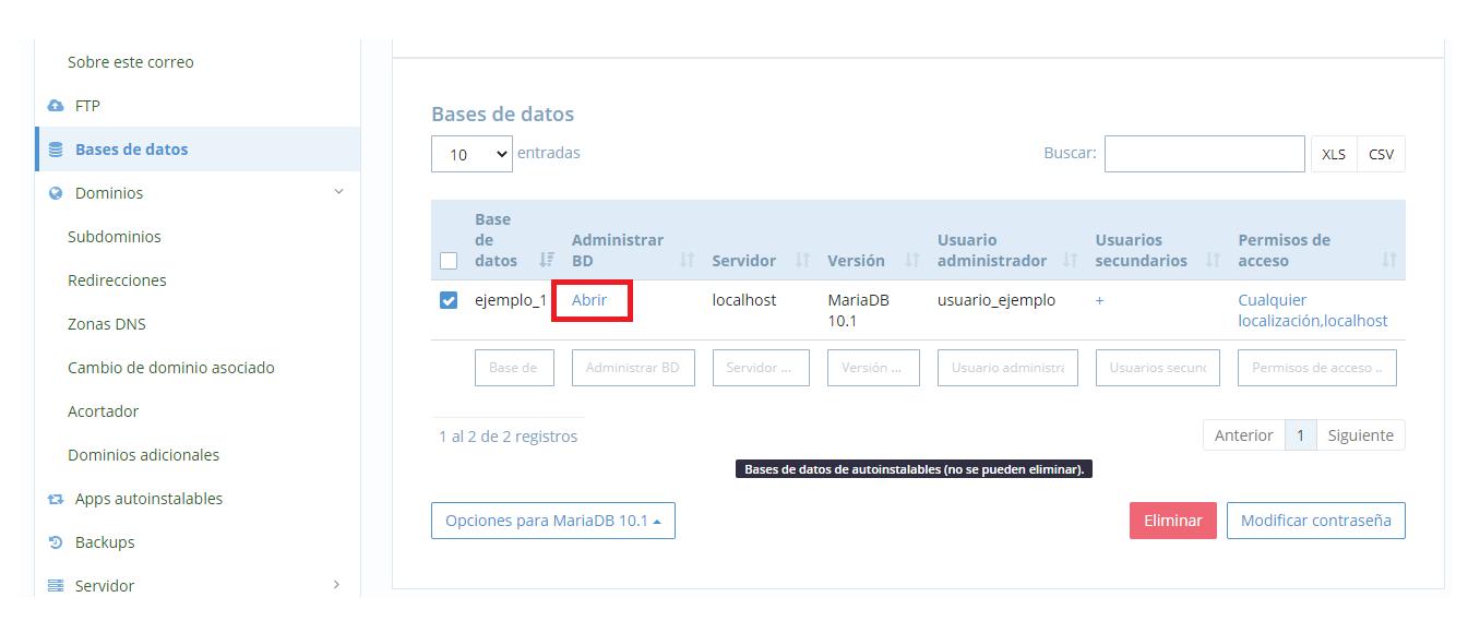 Vaciar una base de datos MySQL
