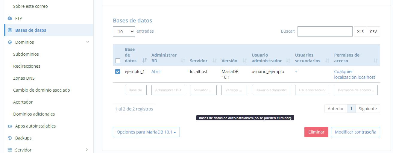 Vaciar base de datos MySQL