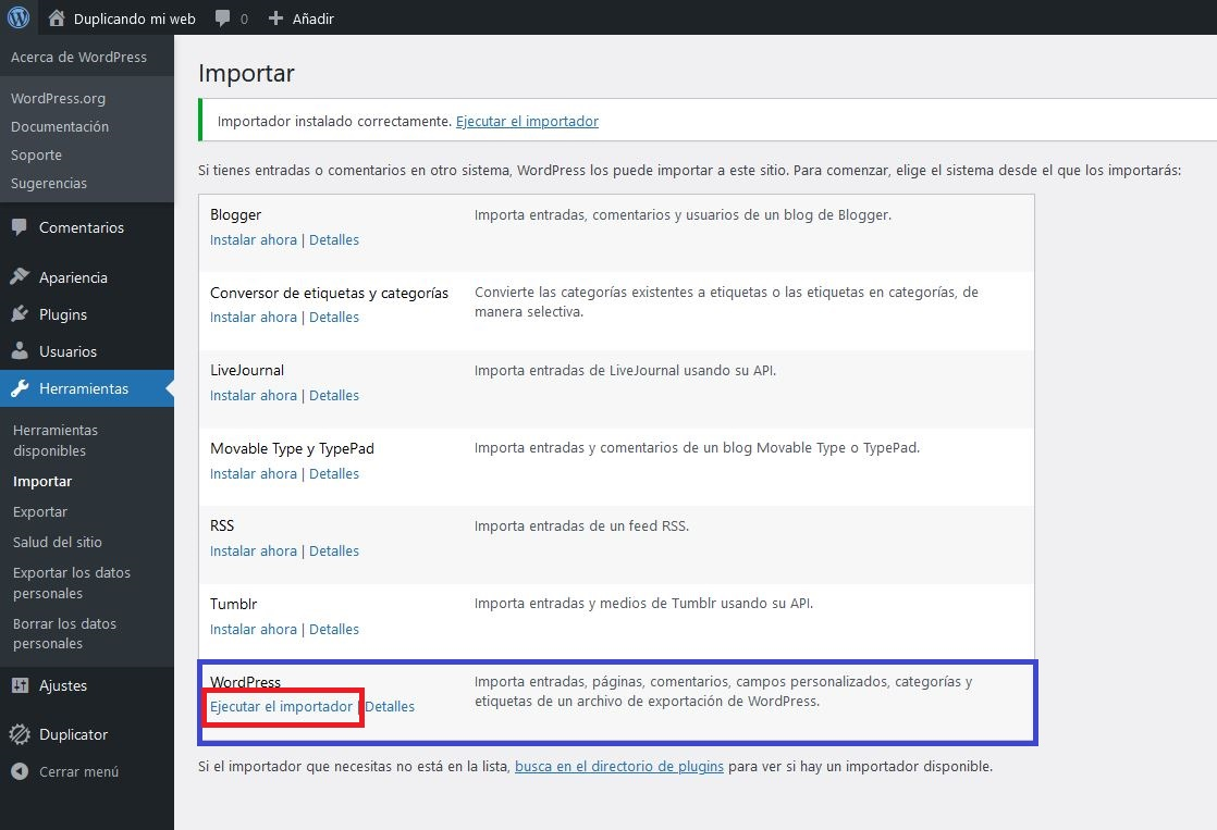 Herramienta importar > Ejecuta el instalador de WordPress