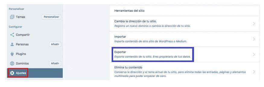 Ajustes de WordPress.com