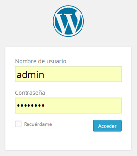 Panel de login de WordPress