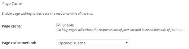 Apartado Page Cache en la configuración de W3 Total Cache