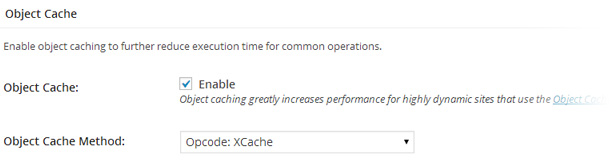 Apartado Oject Cache en la configuración de W3 Total Cache