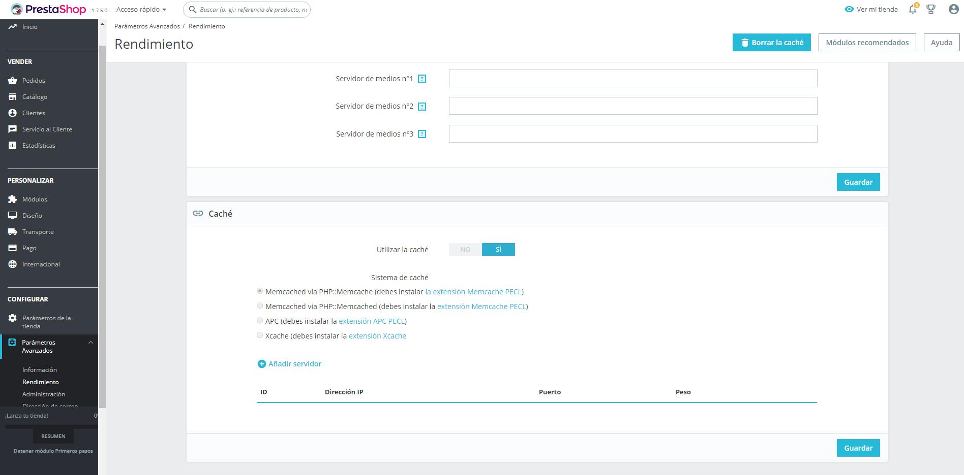 Configuración de Memcached en PrestaShop