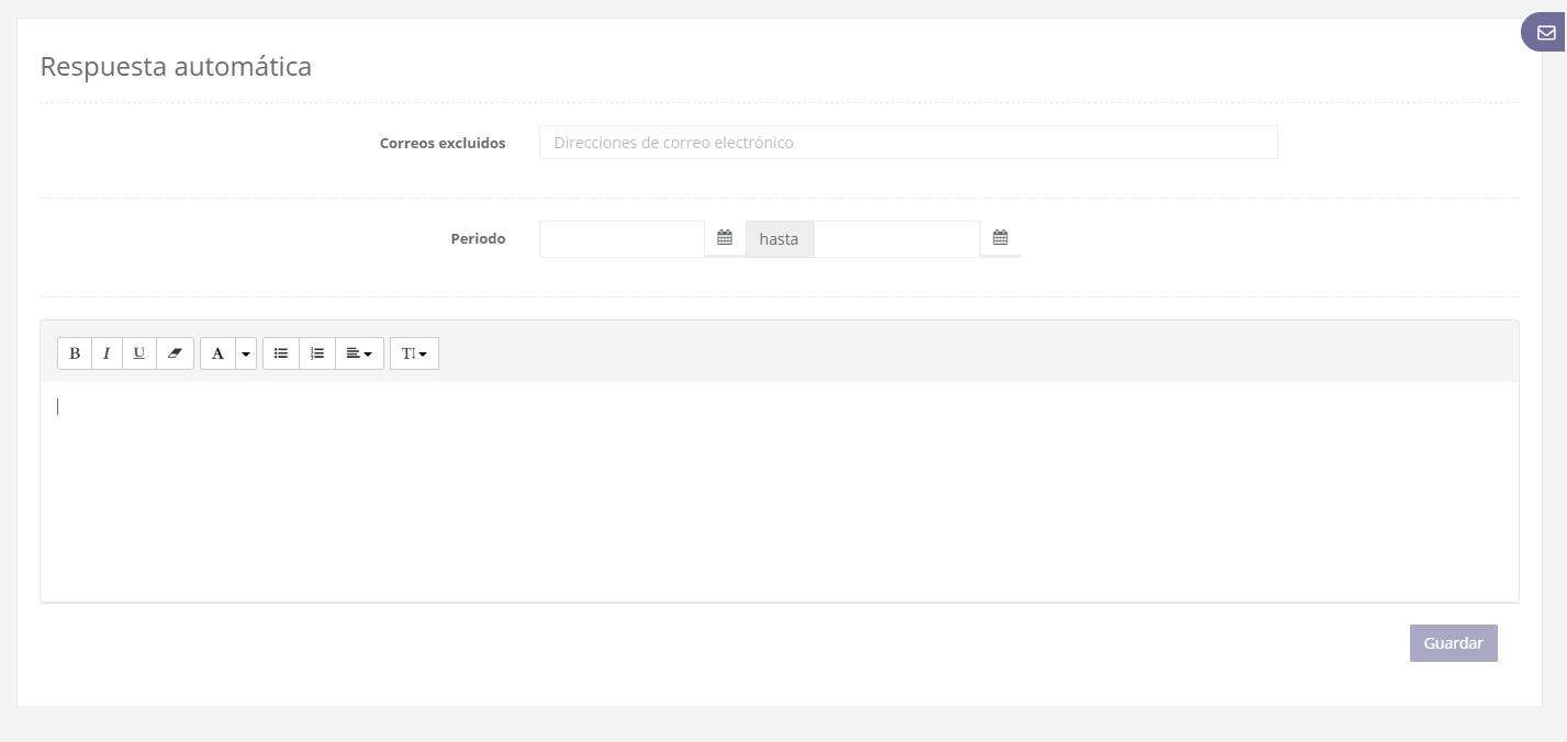Respuesta automática de correo desde el webmail