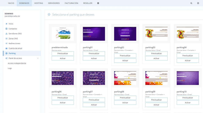 Páginas de parking de dominio disponibles en dinahosting