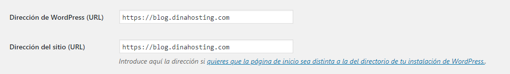 Ajusters WordPress - URL de WordPress y URL del sitio