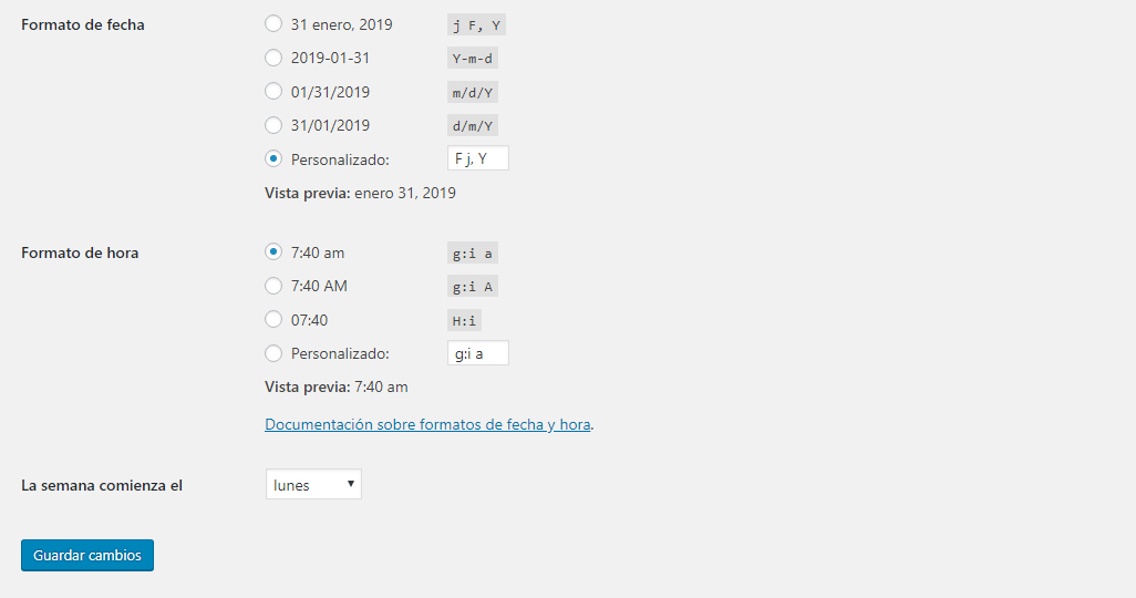 Ajustes WordPress - Formatos y comienzo semana