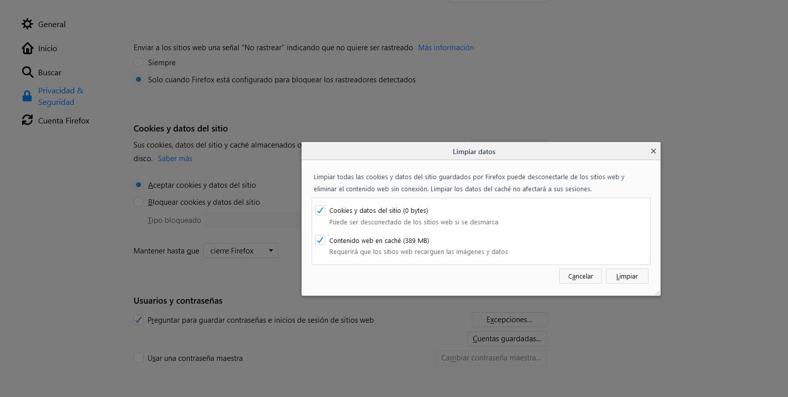 Cómo borrar la caché en Mozilla Firefox