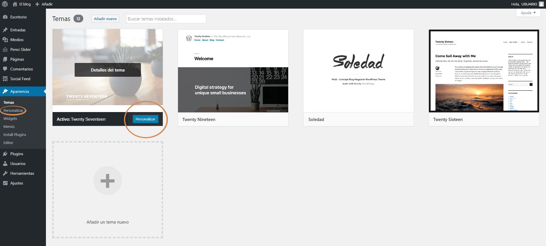 Botones Personalizar WordPress