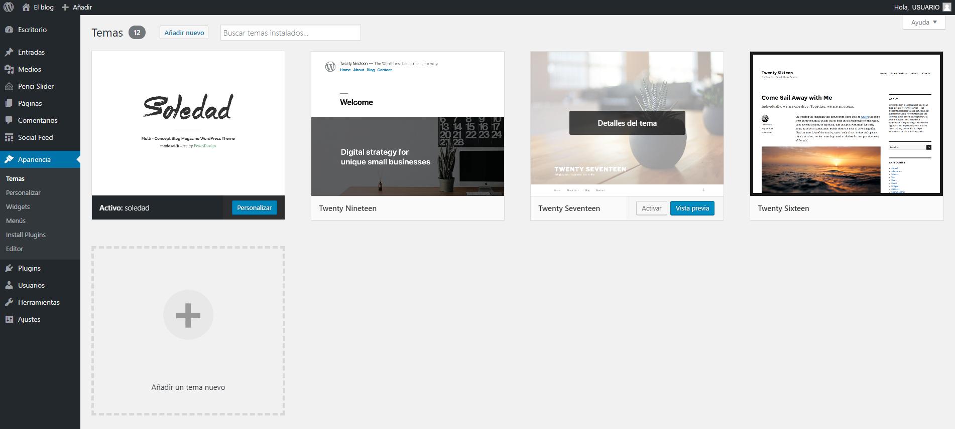Apartado Temas en el escritorio de WordPress, plantillas de WordPress gratis