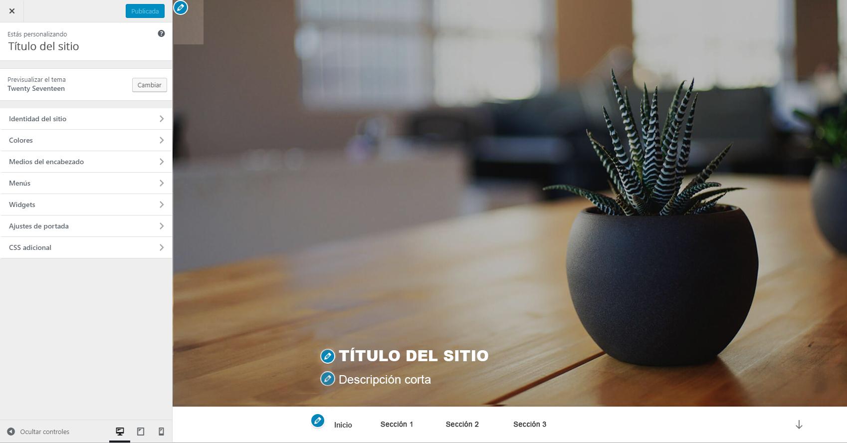 Página de personalización de WordPress