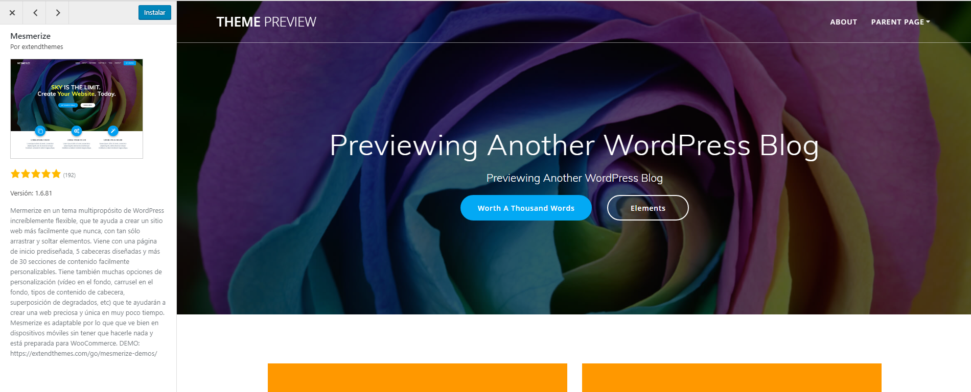 Vista previa de un tema en WordPress