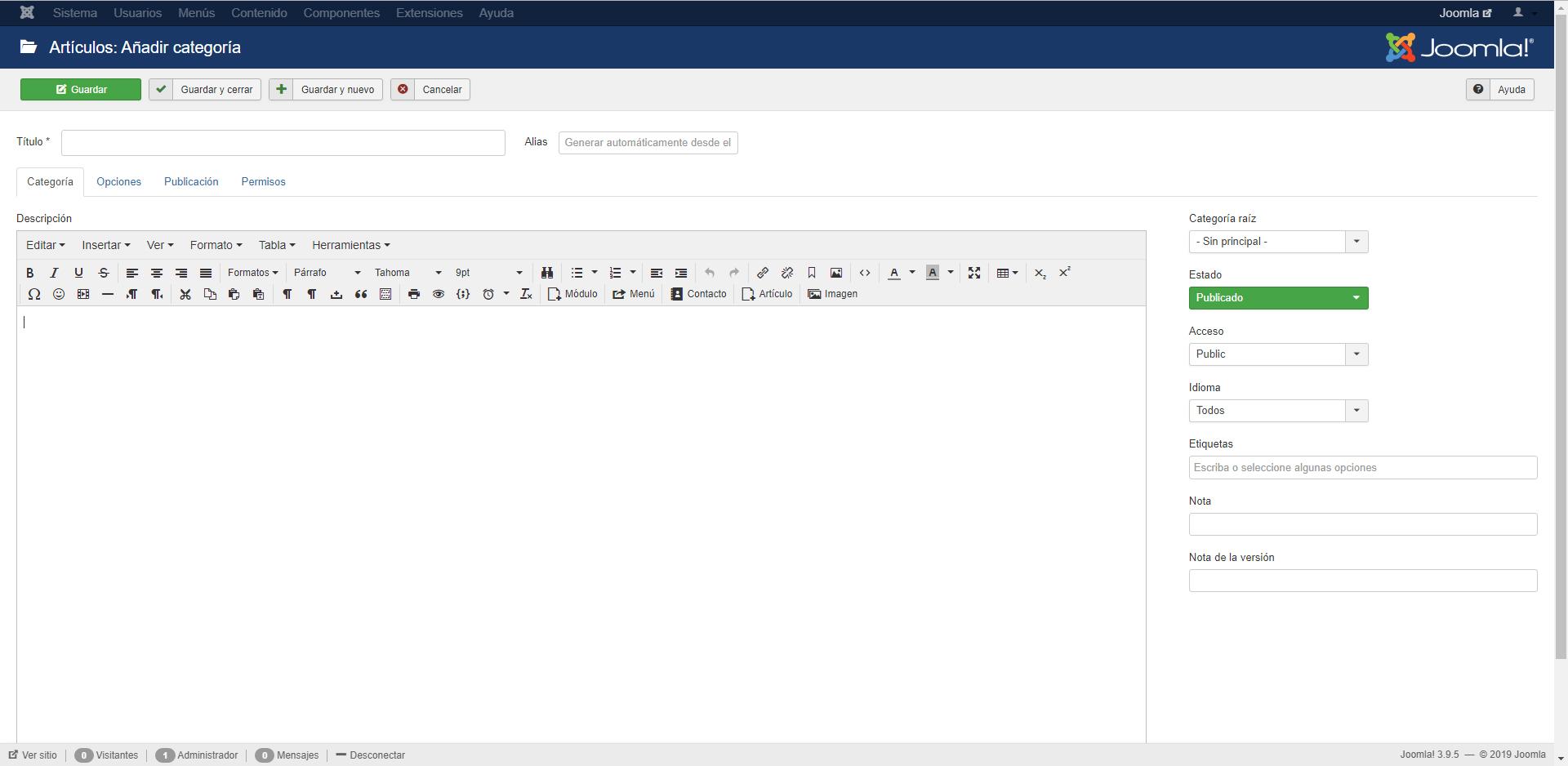 Crear categoría en Joomla