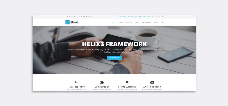 Vista previa de la plantilla Helix3 de Joomla