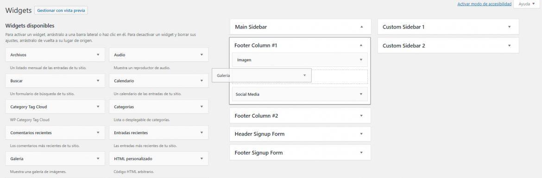 Arrastrar widgets a áreas de tu web